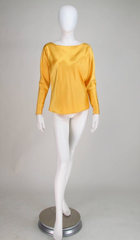 Orange Gres Boutique saffron silk blouse For Sale