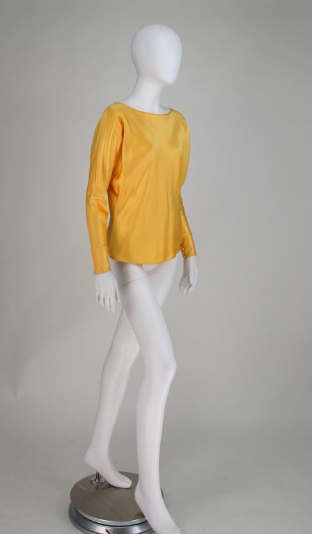 Gres Boutique saffron silk blouse In Excellent Condition For Sale In West Palm Beach, FL