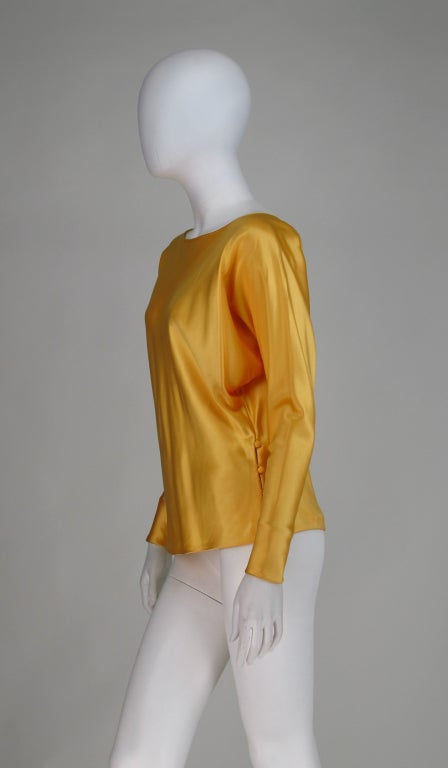 Gres Boutique saffron silk blouse For Sale 3