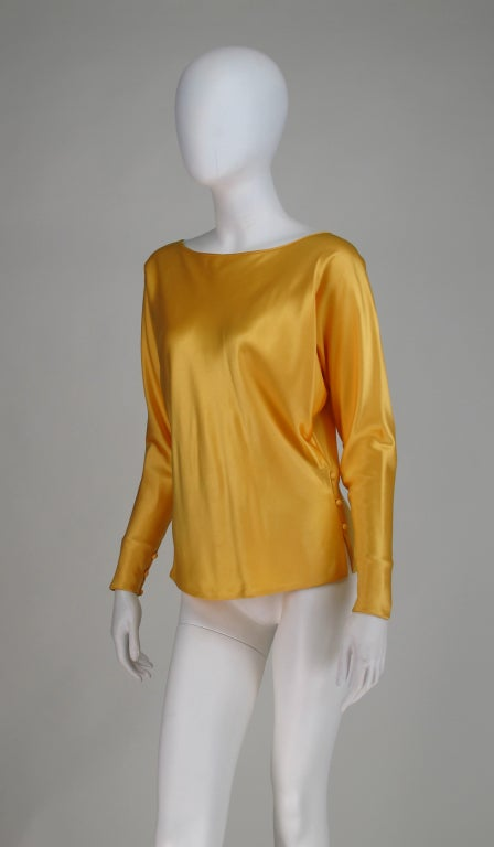 Gres Boutique saffron silk blouse For Sale 4