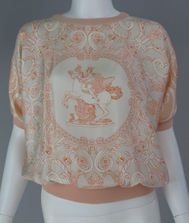Hermes silk scarf sweater blouse 2