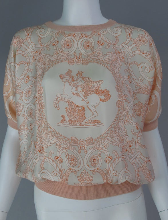 Beige Hermes silk scarf sweater blouse For Sale
