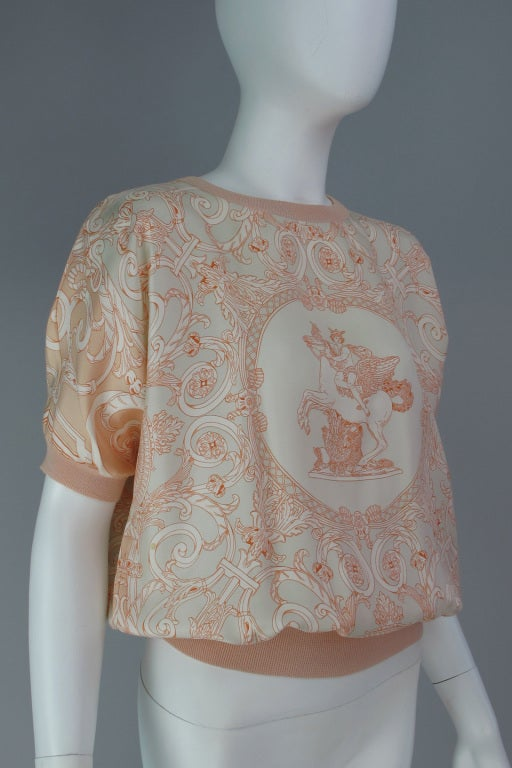 Hermes silk scarf sweater blouse 5