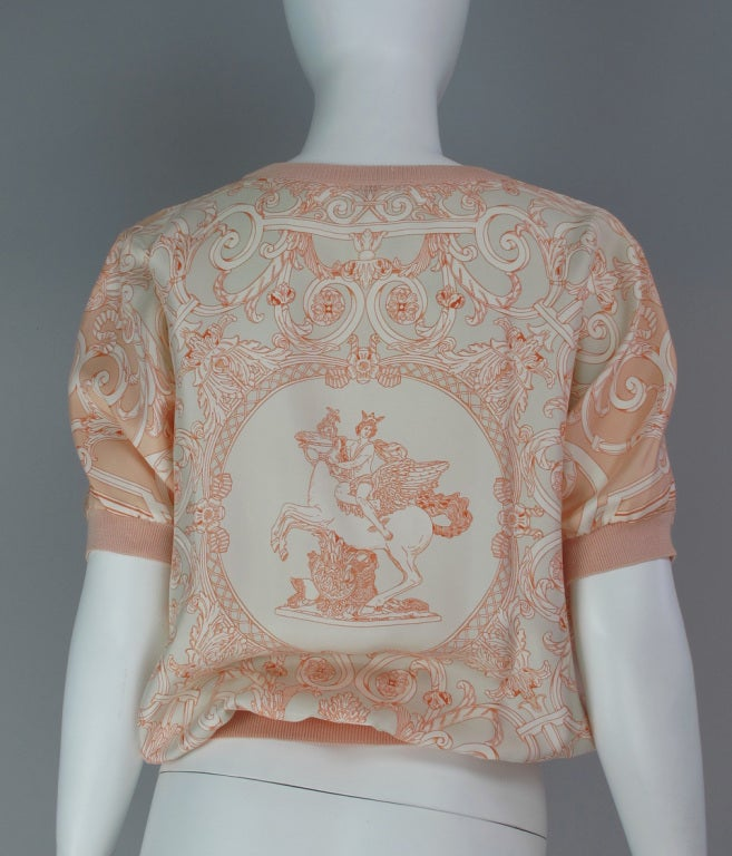 Hermes silk scarf sweater blouse 7