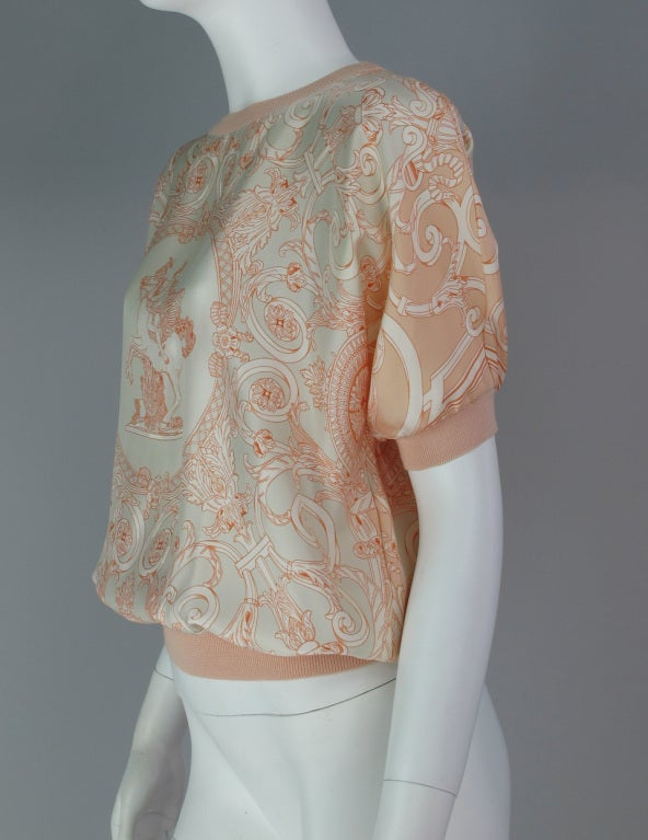 Hermes silk scarf sweater blouse 8