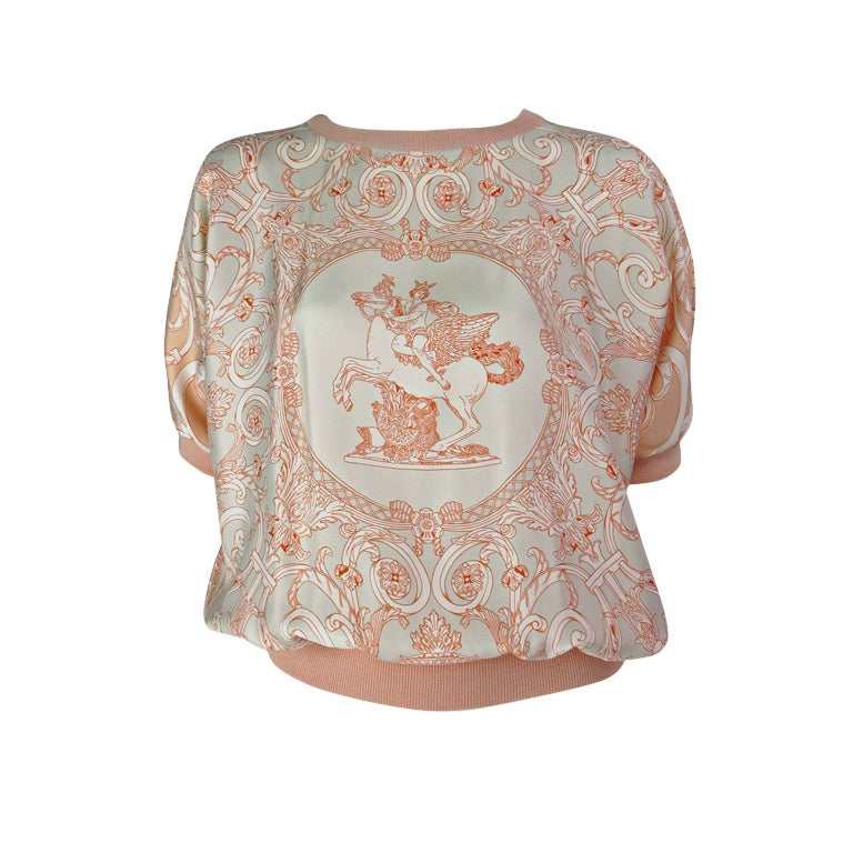 Hermes silk scarf sweater blouse 1