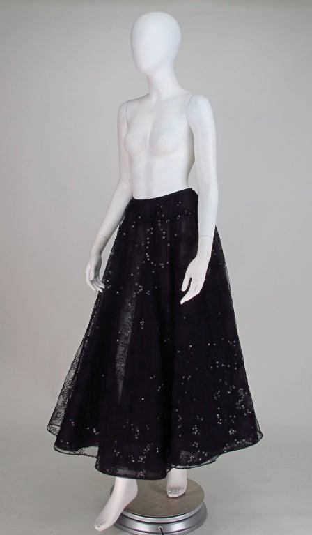 Oscar de la Renta black tulle moon & star evening skirt 2