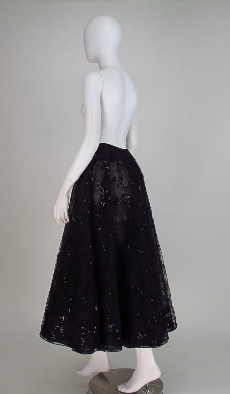 Oscar de la Renta black tulle moon & star evening skirt 4