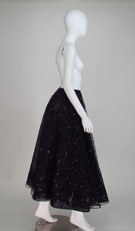 Oscar de la Renta black tulle moon & star evening skirt 6