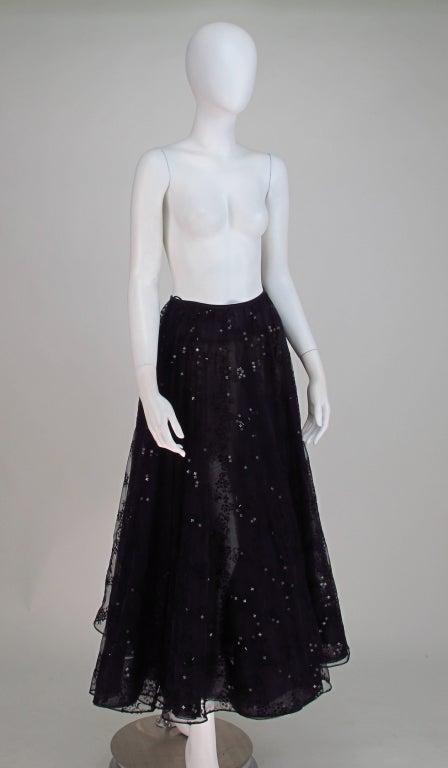Oscar de la Renta black tulle moon & star evening skirt 7