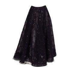 Oscar de la Renta black tulle moon & star evening skirt
