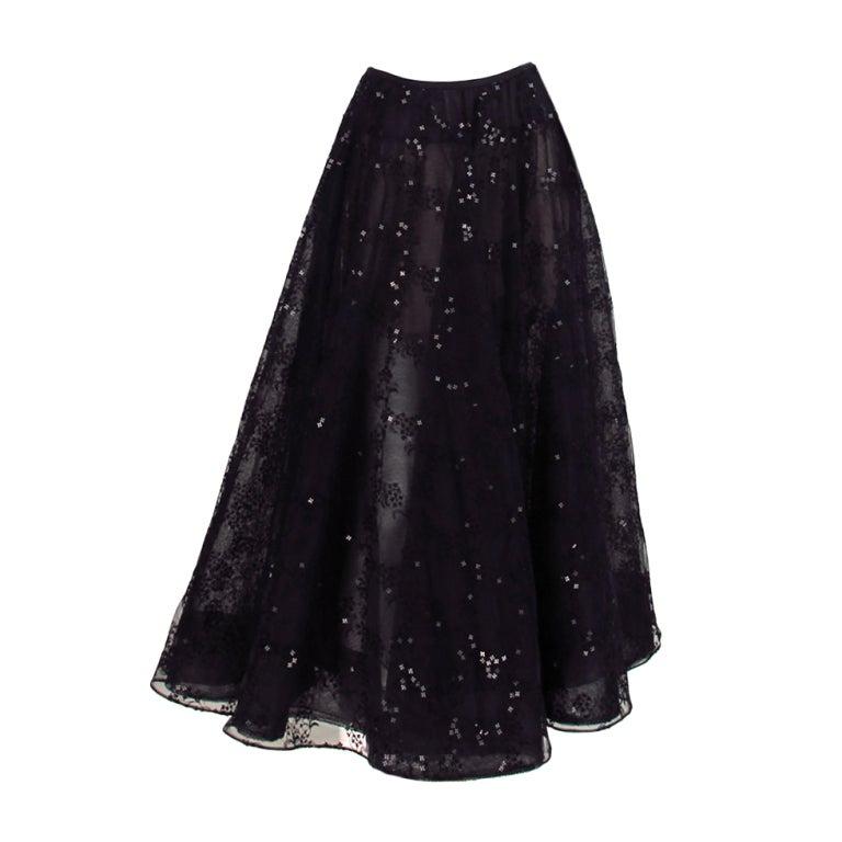 Oscar de la Renta black tulle moon & star evening skirt 1