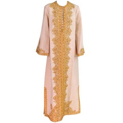 1960s Silk faille embroidered caftan