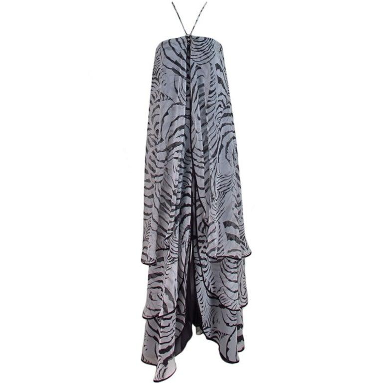 Mr. Blackwell zebra print tiered chiffon gown & wrap