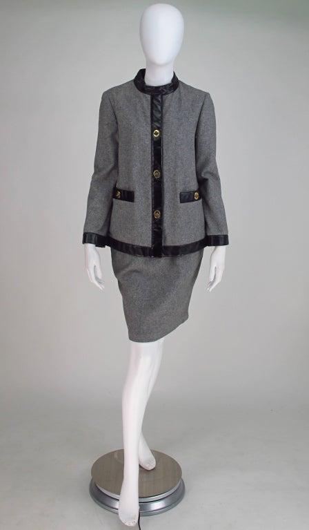 1960s Bonnie Cashin Sills wool & leather suit 2