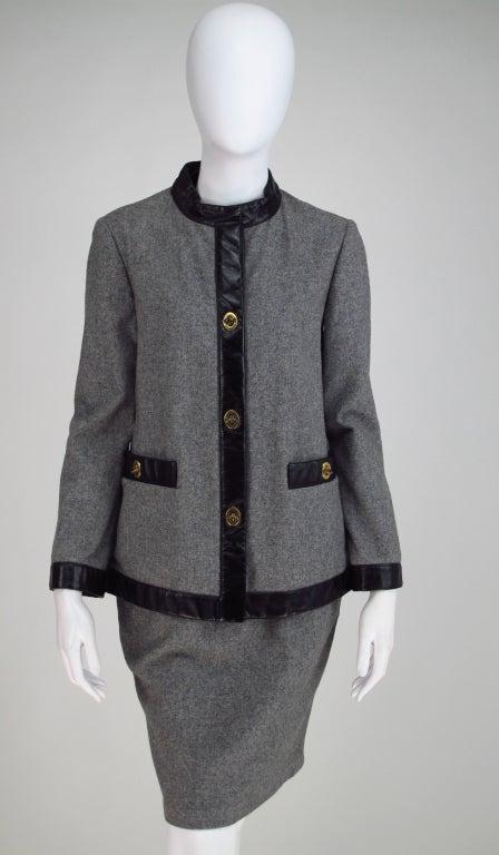 1960s Bonnie Cashin Sills wool & leather suit 8