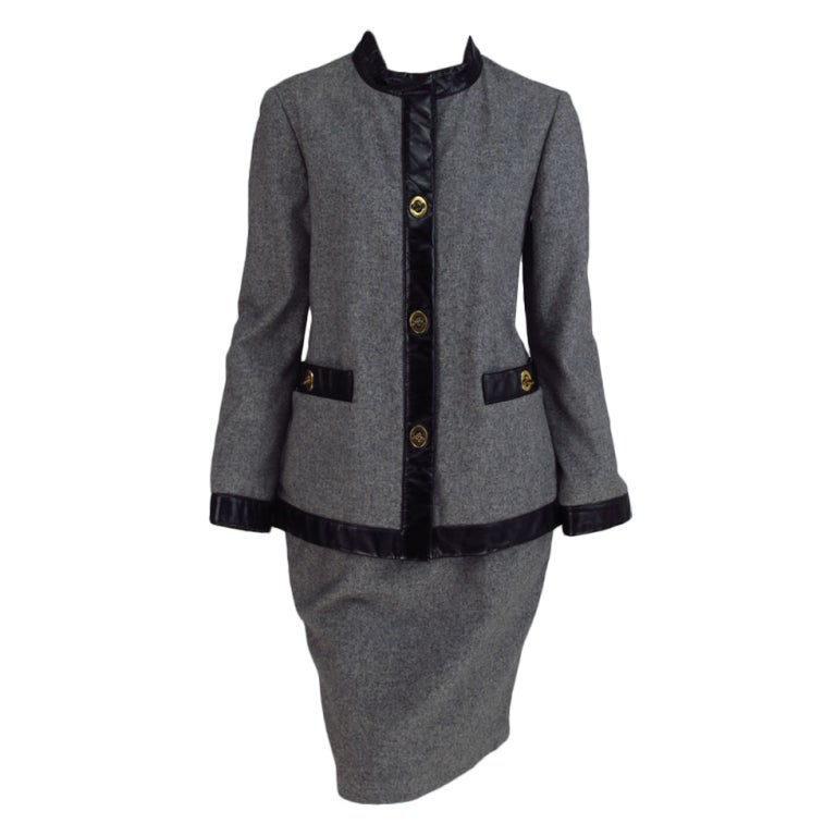 1960s Bonnie Cashin Sills wool & leather suit 1