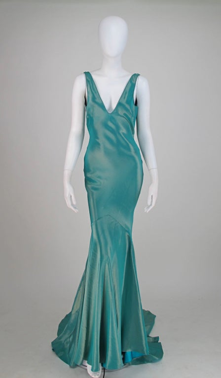 Galliano iridescent   blue  bias cut gown with train image 2