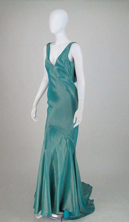 Galliano iridescent   blue  bias cut gown with train image 3