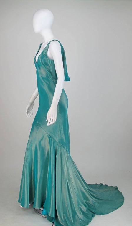 Galliano iridescent   blue  bias cut gown with train image 4