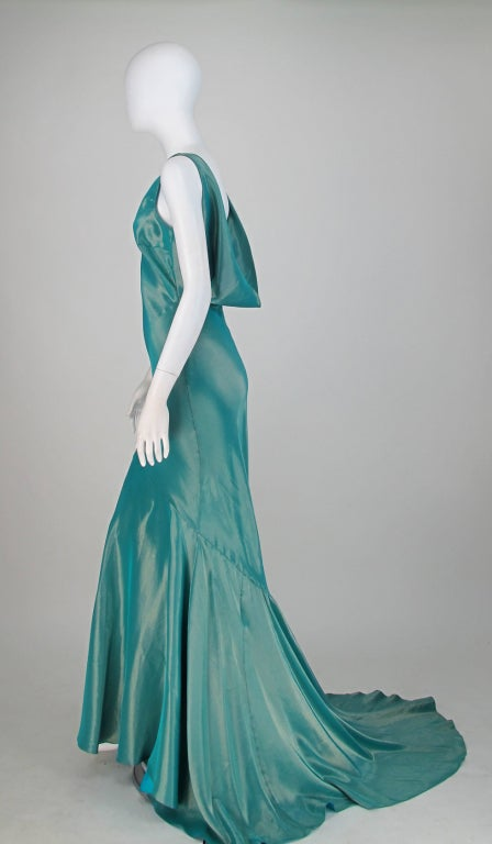 Galliano iridescent   blue  bias cut gown with train image 5