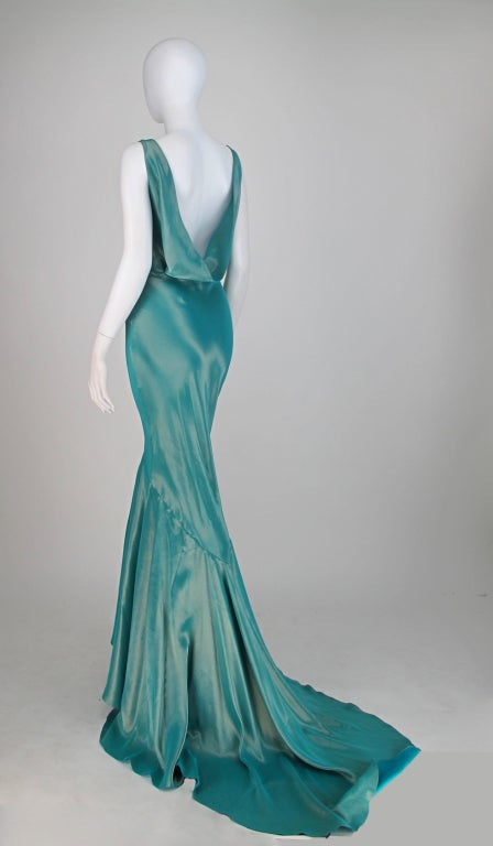 Galliano iridescent   blue  bias cut gown with train image 6
