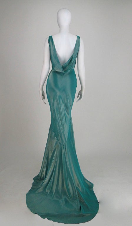 Galliano iridescent   blue  bias cut gown with train image 7