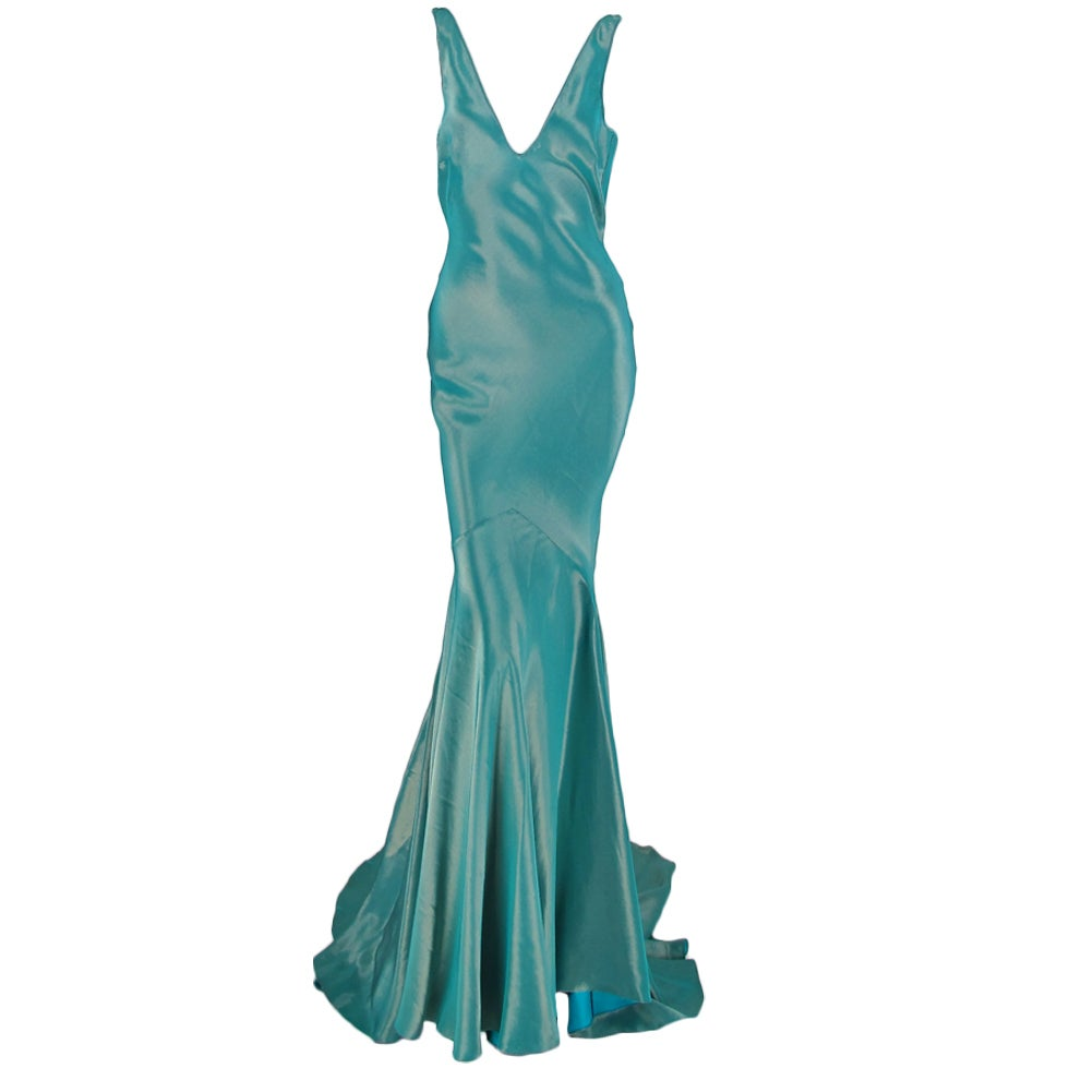 Galliano iridescent   blue  bias cut gown with train