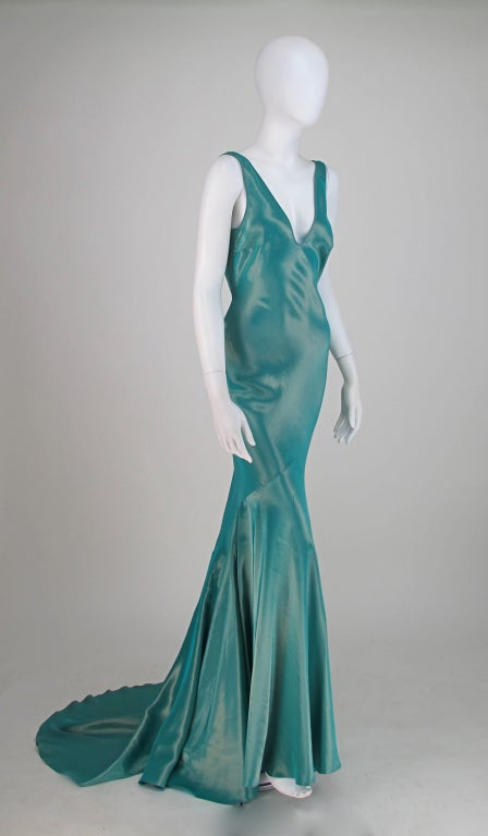 Galliano iridescent   blue  bias cut gown with train image 8