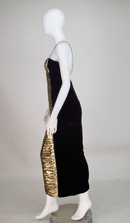 1980s Vicky Tiel Gold Lame And Velvet Gown At 1stdibs