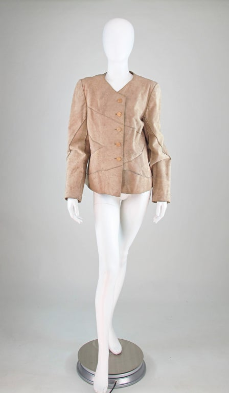 Brown 1990s Chanel distressed buckskin jacket For Sale