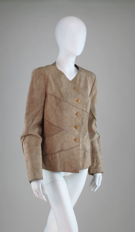 1990s Chanel distressed buckskin jacket In Excellent Condition For Sale In West Palm Beach, FL