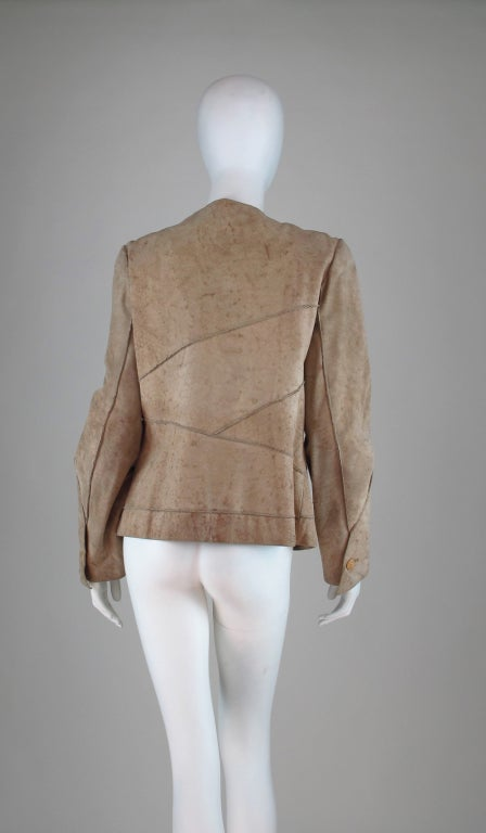 Women's 1990s Chanel distressed buckskin jacket For Sale