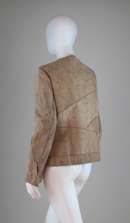 1990s Chanel distressed buckskin jacket For Sale 1