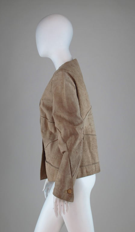 1990s Chanel distressed buckskin jacket For Sale 2