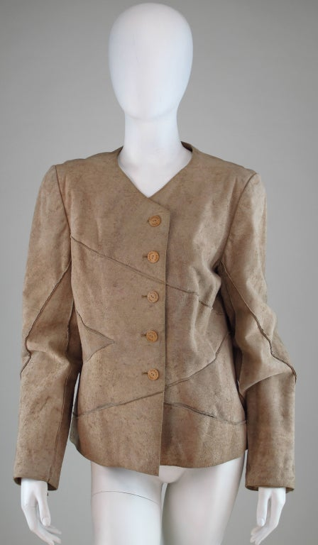 1990s Chanel distressed buckskin jacket For Sale 3