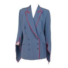 1980s Rifat Ozbek slashed sleeve double breasted jacket