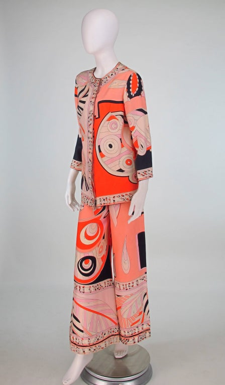 Pink 1960s Emilio Pucci silk twill evening pajama set For Sale