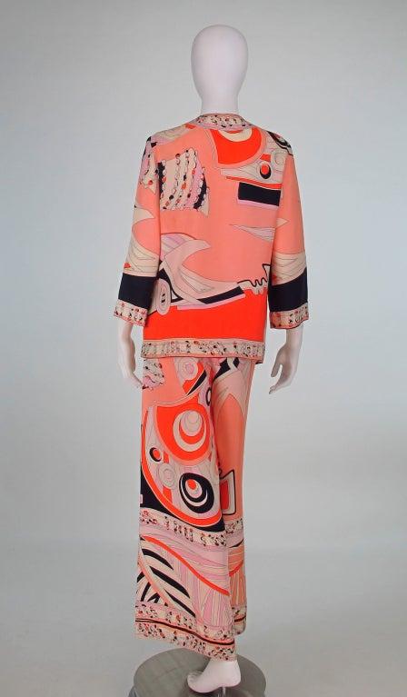 1960s Emilio Pucci silk twill evening pajama set 5