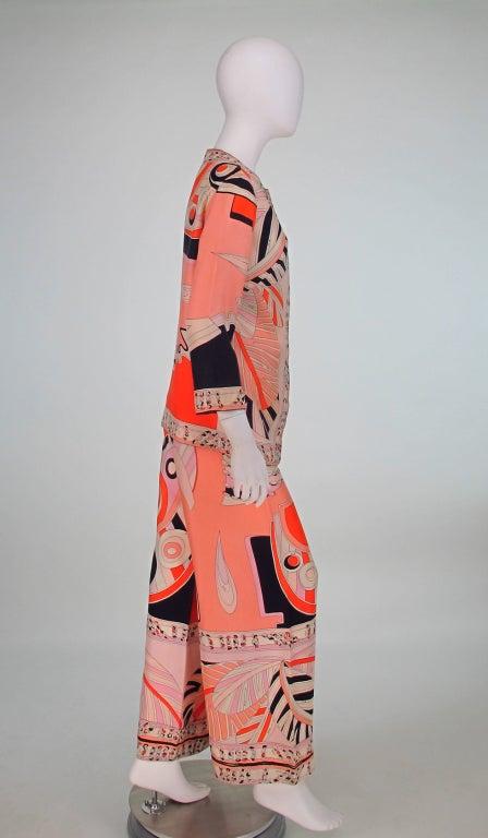 1960s Emilio Pucci silk twill evening pajama set 6