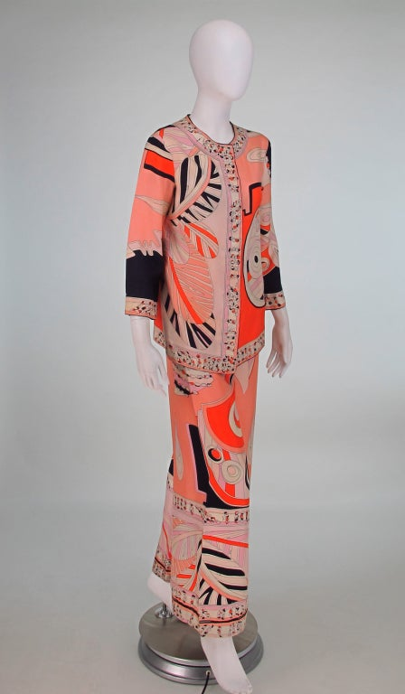 1960s Emilio Pucci silk twill evening pajama set 7