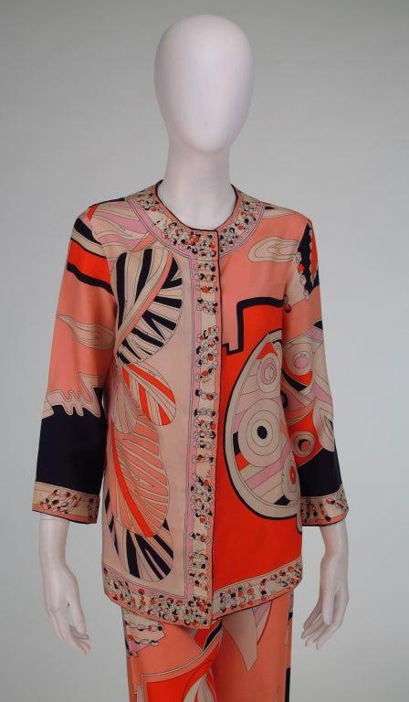 1960s Emilio Pucci silk twill evening pajama set 8