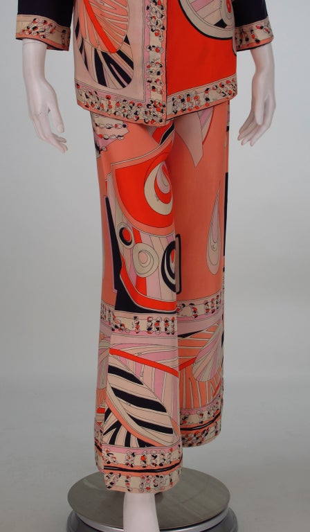 1960s Emilio Pucci silk twill evening pajama set 9