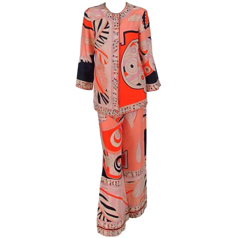 1960s Emilio Pucci silk twill evening pajama set 1