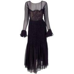 1970 Oscar de la Renta sheer chiffon & lace smocked hip gown