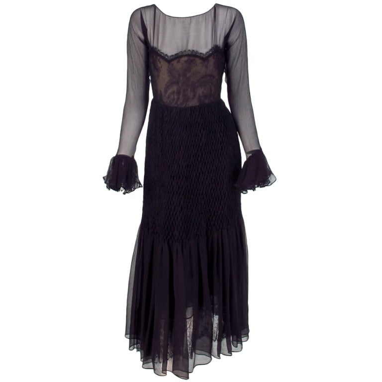 1970 Oscar de la Renta sheer chiffon & lace smocked hip gown
