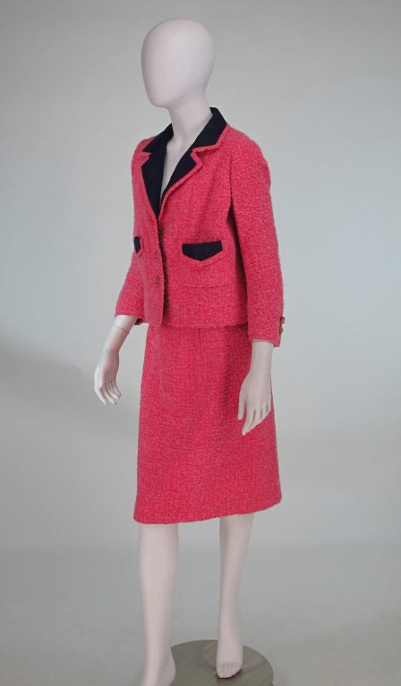 Chanel haute couture pink wool suit 1960s at 1stdibs for Haute couture suits