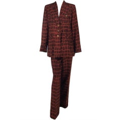 Todd Oldham alligator print jacket and trouser set 1990s