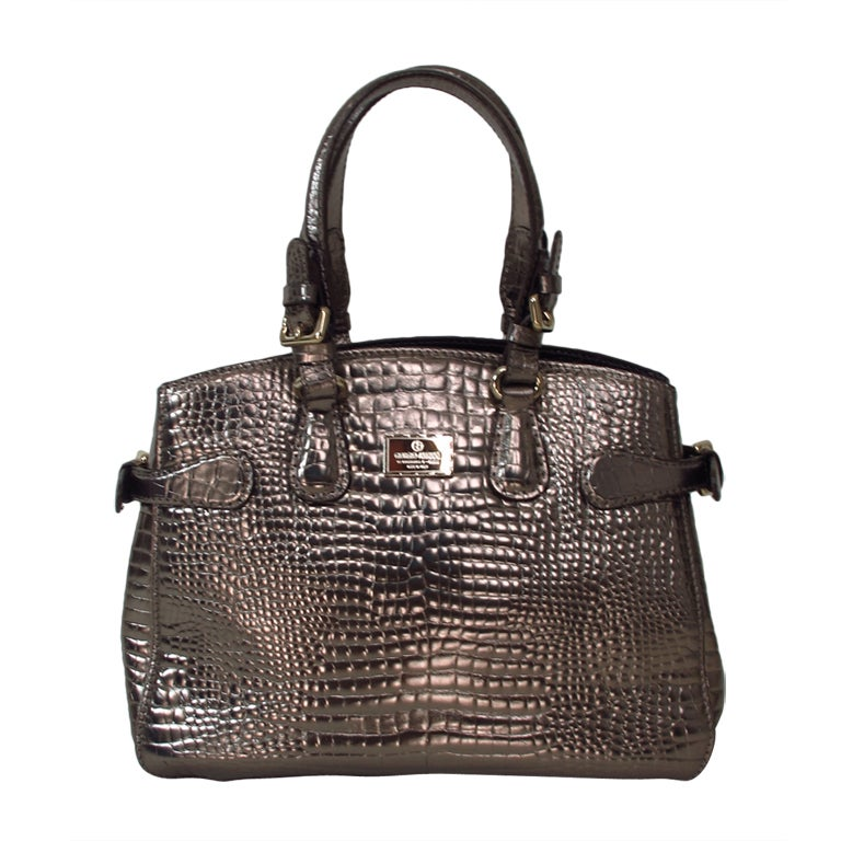 8cb7a07935 Giorgio Armani bronze faux alligator tote bag
