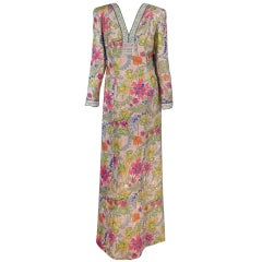 Alvarado Bessi beaded metallic floral gown